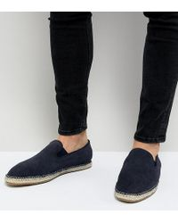 Frank Wright - Wide Fit Slip On Espadrilles In Navy Suede - Lyst