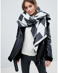 French Connection - Houndstooth Oversized Scarf - Lyst