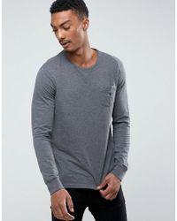 Polo Ralph Lauren - Long Sleeve Top Pocket Custom Regular Fit In Charocal Marl - Lyst