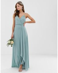 TFNC London - Bridesmaid Exclusive Cami Wrap Maxi Dress With Fishtail In Sage - Lyst