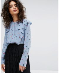 Sonia by Sonia Rykiel - Playing Card Printed Silk Blouse - Lyst