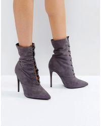 Public Desire - Grey Spectrum Paperbag Lace Up Ankle Boots - Lyst