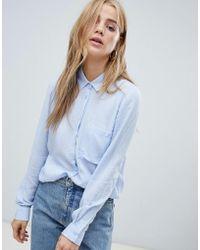 Pull&Bear - Long Sleeved Shirt In Blue - Lyst