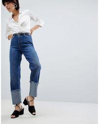 Warehouse - Turn Up Frayed Hem Jeans - Lyst