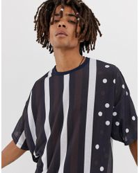 ASOS - Oversized T-shirt With Vertical Stripe And Polka Dot - Lyst