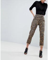 ASOS - Design Ritson Rigid Mom Jeans In Leopard Print - Lyst