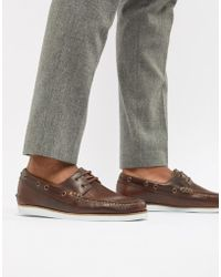 17f76ddc566 ASOS - Boat Shoes In Brown Leather With White Sole - Lyst
