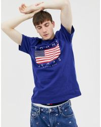 20beb03da Tommy Hilfiger - Us Flag Capsule Logo Print T-shirt In Dark Blue - Lyst