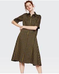 58166c33a9a Lyst - Aspesi Short Sleeve Linen Dress In Tobacco in Brown