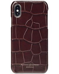 Aspinal of London - Lightweight Brown Croc Print Deep Shine Amazon Iphone X Leather Cover - Lyst