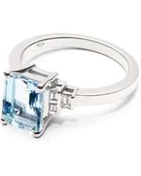Aspinal of London - Iris 18ct White Gold Aquamarine & Diamond Ring - Lyst