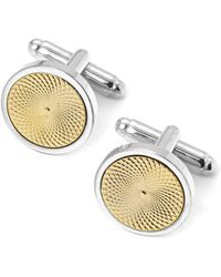 Aspinal of London - Sterling Silver Plated With Gold Engraved Centre Round Cufflinks - Lyst