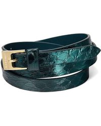 Aspinal - The Mayfair Skinny Double Wrap Leather Bracelet - Lyst