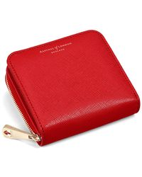 Aspinal of London - Ladies Scarlet Saffiano Mini Continental Zipped Coin Purse - Lyst