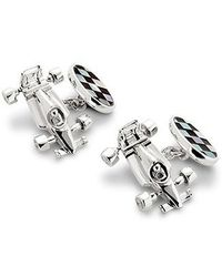 Aspinal - Sterling Silver Racing Car & Chequered Flag Cufflinks - Lyst