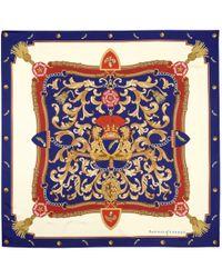 Aspinal of London - Designer Scarves - Aspinal Signature Shield Silk Scarf In Blue - Lyst