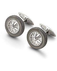 Aspinal - Sterling Silver Classic Wheel Cufflinks - Lyst