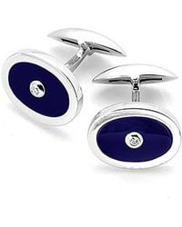 Aspinal - Diamond Sterling Silver Oval Cufflinks - Lyst