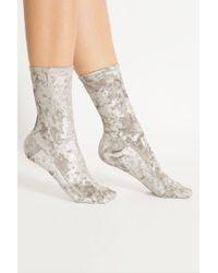 Darner - Silver Crushed Velvet Sock - Lyst