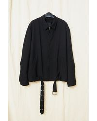 Assembly - Black Wool Suiting Belted Zipcoat - Lyst