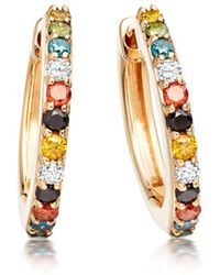 Astley Clarke - Medium Halo Coloured Diamond Hoop Earrings - Lyst