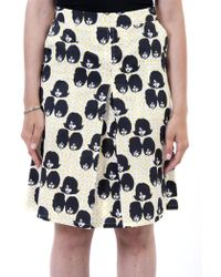 Ottod'Ame - Ottod'ame Zoe Gonna Yellow Skirt Heads In Black Pattern - Lyst