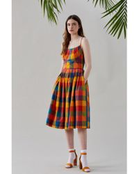 Emily and Fin - Enid Plaid Pleated Summer Dress - Lyst