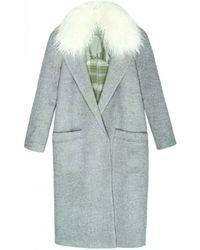 INTROPIA - Fur Collar Coat - Lyst