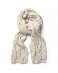 GANT - Cream Cable Scarf - Lyst