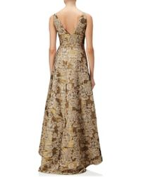 Adrianna Papell - High Low Dress With High Neck In Antique Gold - Lyst