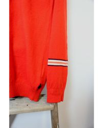 Scotch & Soda - Red Crew Neck Button Knit - Lyst