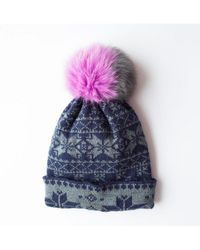 Rose & Rose - Brenner Pass Bobble Hat In Navy And Grey - Lyst
