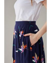 Emily and Fin - Faye Navy Floral Pleated Skirt - Lyst
