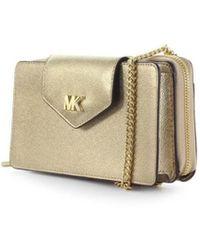 52517491edd1 MICHAEL Michael Kors - Michael Kors Pale Gold Small Phone Crossbody Bag -  Lyst