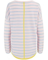 Cocoa Cashmere - Striped Tipped Curved Cashmere Jumper Alabster/soft - Lyst
