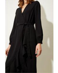 Great Plains - Black Frill Wrap Dress - Lyst