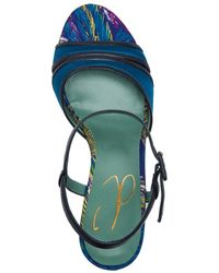 Paola D'arcano - Satin Heeled Sandals In Teal Blue - Lyst