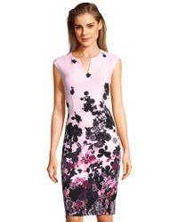 Adrianna Papell - Floral Bliss Notch Neck Sth In Blk Multi - Lyst