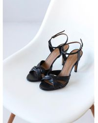 INTROPIA - 959 Strappy Leather Heels In Black - Lyst