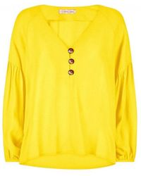 ca8f52b6f9c Tibi One Shoulder Ruched Sleeve Blouse in Yellow - Lyst