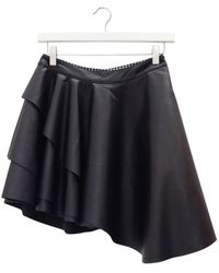 Urbancode - Black Faux Leather Layer Skirt - Lyst