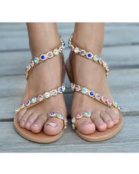 22bb211fcfd08 Atterley - Leather Sandals Jewelled In Crystals - Lyst