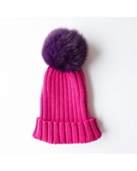 Rose & Rose - Saint Gothard Bobble Hat In Fuchsia With Purple Fur Pom - Lyst