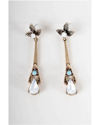 Atterley - Leaf And Droplet Earrings - Lyst