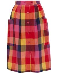 2168d8ec9 Sandro Sunset Check-pattern Crepe Skirt - Lyst