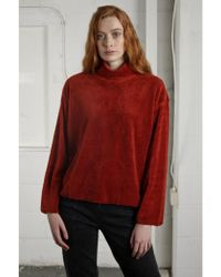 Native Youth - Bloc Funnel Neck Sherpa Rust Jumper - Lyst