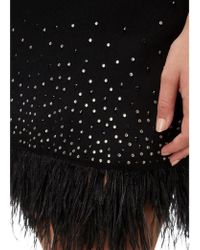 Aidan Mattox - Beaded Crepe And Feather Dress In Black - Lyst