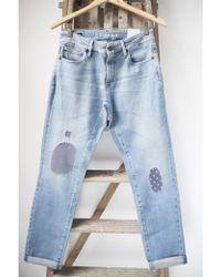 Denham - Monroe Golden Rivet Blue City Patch Jeans - Lyst