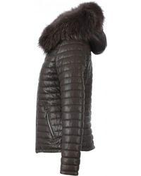 Oakwood - Happy Brown Leather Down Jacket With Fur Hood - Lyst