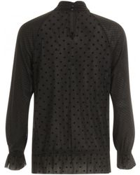 COSTER COPENHAGEN - Blouse In Mesh With Velvet Dots And Lace Detail (black) - Lyst
